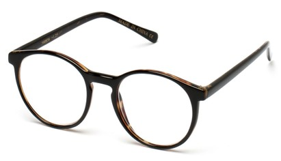Angle of The Caesar in Glossy Black/Brown, Women's and Men's Round Reading Glasses