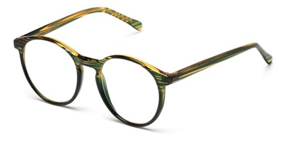 Angle of The Caesar in Green/Brown Stripe, Women's and Men's Round Reading Glasses