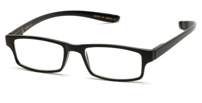 Angle of The Simon Hanging Reader in Matte Black, Women's and Men's Rectangle Reading Glasses