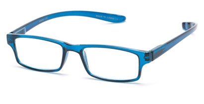 Angle of The Simon Hanging Reader in Glossy Blue, Women's and Men's Rectangle Reading Glasses