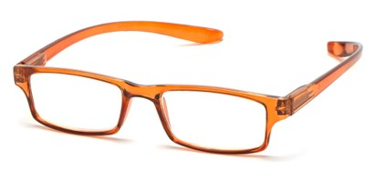 Angle of The Simon Hanging Reader in Glossy Orange, Women's and Men's Rectangle Reading Glasses