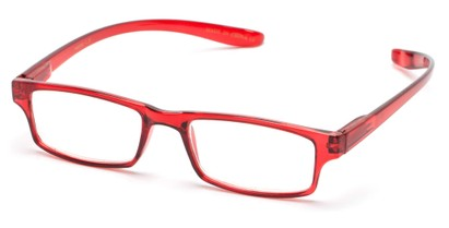 Angle of The Simon Hanging Reader in Glossy Red, Women's and Men's Rectangle Reading Glasses