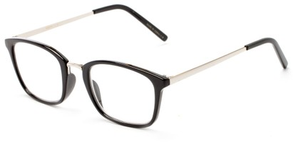 Angle of The Roland in Black/Silver, Women's and Men's Square Reading Glasses