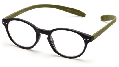 Angle of The Logan Hanging Reader in Matte Blue/Green, Women's and Men's Round Reading Glasses