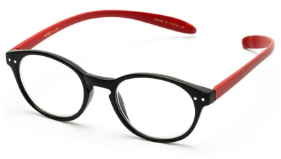 Angle of The Logan Hanging Reader in Matte Black/Red, Women's and Men's Round Reading Glasses