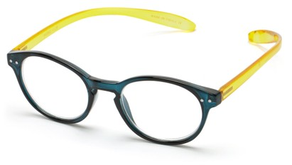 Angle of The Logan Hanging Reader in Glossy Blue/Yellow, Women's and Men's Round Reading Glasses