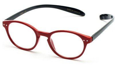 Angle of The Logan Hanging Reader in Glossy Red/Navy Blue, Women's and Men's Round Reading Glasses