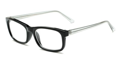 Angle of The Arthington in Glossy Black/Clear, Women's and Men's Rectangle Reading Glasses