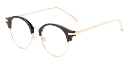 Angle of The Chester in Black/Gold, Women's and Men's Browline Reading Glasses