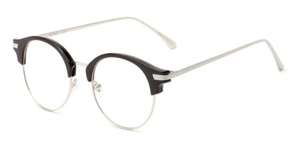 Angle of The Chester in Black/Silver, Women's and Men's Browline Reading Glasses