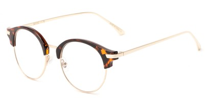 Angle of The Chester in Tortoise/Gold, Women's and Men's Browline Reading Glasses