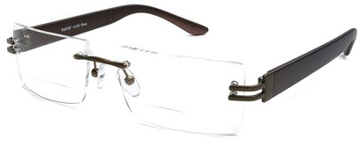 Angle of The Politician Bifocal in Bronze and Brown, Women's and Men's Rectangle Reading Glasses