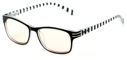 Angle of The Milwaukee Unmagnified Computer Glasses in Black Stripes with Yellow, Women's and Men's Rectangle Reading Glasses