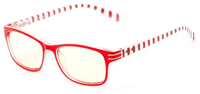 Angle of The Milwaukee Unmagnified Computer Glasses in Red Stripes with Yellow, Women's and Men's Rectangle Reading Glasses