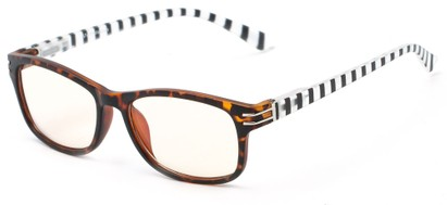 Angle of The Milwaukee Unmagnified Computer Glasses in Tortoise/Black Stripes with Yellow, Women's and Men's Rectangle Reading Glasses