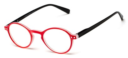 Angle of The Studio in Red and Black, Women's and Men's Round Reading Glasses