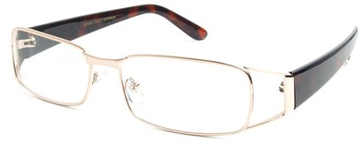 Angle of The Kent in Gold and Tortoise, Women's and Men's Rectangle Reading Glasses