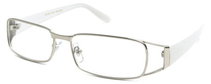 Angle of The Kent in Silver and White, Women's and Men's Rectangle Reading Glasses