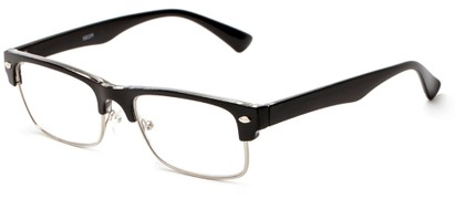 Angle of The Dickens in Black, Women's and Men's Browline Reading Glasses
