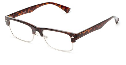 Angle of The Dickens in Brown Tortoise, Women's and Men's Browline Reading Glasses