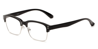 Angle of The Pluto in Glossy Black, Women's and Men's Browline Reading Glasses