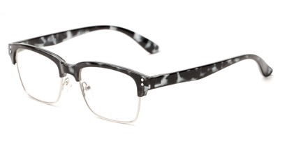 Angle of The Pluto in Glossy Grey Tortoise, Women's and Men's Browline Reading Glasses