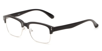 Angle of The Pluto in Matte Black, Women's and Men's Browline Reading Glasses