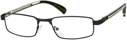 Angle of The Omaha in Blue, Women's and Men's Rectangle Reading Glasses