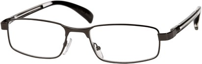 Angle of The Omaha in Grey and Black, Women's and Men's Rectangle Reading Glasses