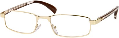 Angle of The Omaha in Gold and Brown, Women's and Men's Rectangle Reading Glasses