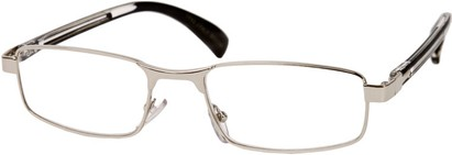 Angle of The Omaha in Silver and Black, Women's and Men's Rectangle Reading Glasses
