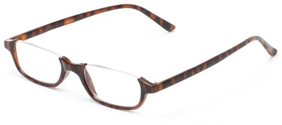 Angle of The Albus in Dark Brown Tortoise, Women's and Men's Rectangle Reading Glasses