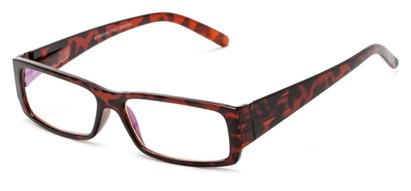 Angle of The Womack Computer Reader in Tortoise with Clear, Women's and Men's Rectangle Reading Glasses
