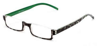 Angle of The Brent in Black/White Tortoise with Green, Women's and Men's Rectangle Reading Glasses