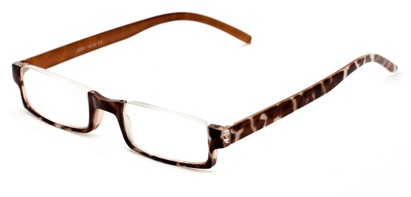 Angle of The Brent in Brown Tortoise with Orange, Women's and Men's Rectangle Reading Glasses