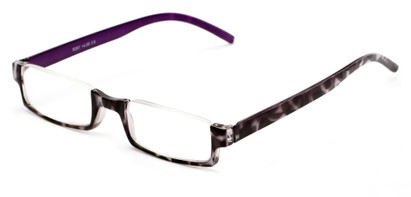 Angle of The Brent in Black/White Tortoise with Purple, Women's and Men's Rectangle Reading Glasses