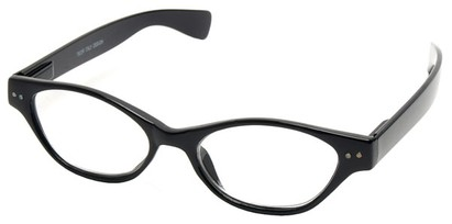 Angle of The Cat in Black, Women's Cat Eye Reading Glasses