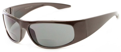 Angle of The Lance Bifocal Reading Sunglasses in Brown with Smoke, Women's and Men's Sport & Wrap-Around Reading Sunglasses