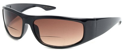 Angle of The Lance Bifocal Reading Sunglasses in Black with Amber, Women's and Men's Sport & Wrap-Around Reading Sunglasses