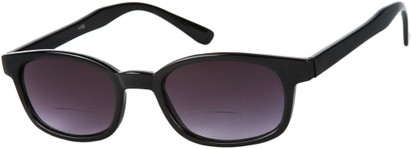 Angle of The Agent Bifocal Reading Sunglasses in Black with Smoke, Women's and Men's Retro Square Reading Sunglasses