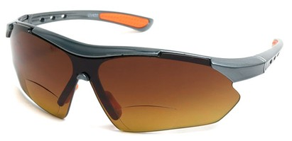 Angle of The Outback Driving Bifocal Reading Sunglasses in Grey/Orange with Amber, Women's and Men's Sport & Wrap-Around Reading Sunglasses