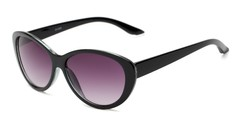 Angle of The Mary Reading Sunglasses in Black with Smoke, Women's Cat Eye Reading Sunglasses