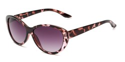 Angle of The Mary Reading Sunglasses in Pink Tortoise with Smoke, Women's Cat Eye Reading Sunglasses
