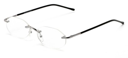 Angle of The Clinton Hill in Silver, Women's and Men's Oval Reading Glasses