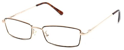 Angle of The Dakota in Gold, Men's Rectangle Reading Glasses