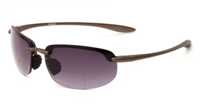Angle of The Jack Bifocal Reading Sunglasses in Bronze with Smoke, Women's and Men's Sport & Wrap-Around Reading Sunglasses
