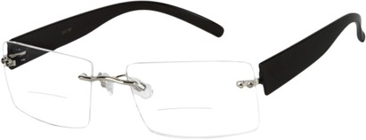 Angle of The Alamo Bifocal in Black, Women's and Men's Rectangle Reading Glasses