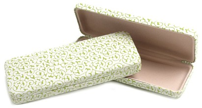 Angle of Extra Thin Reading Glasses Case #915 in White with Green, Women's and Men's