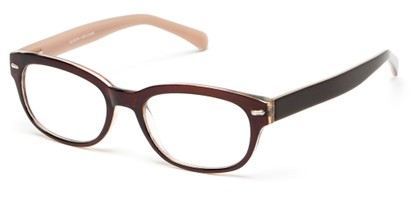 Angle of The Lincoln Park in Brown/Tan, Women's and Men's Retro Square Reading Glasses