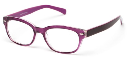 Angle of The Lincoln Park in Purple, Women's and Men's Retro Square Reading Glasses